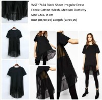 WST 17424 BLACK SHEER IRREGULER DRESS