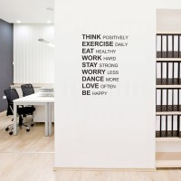 Wall Stiker Quotes Think Positively Sticker Kantor Dinding Kamar Rumah