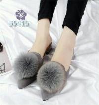 Grosir Sandal Flatshoes Wanita Murah Selop Pom Abu