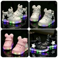 Sz 21-30 Sepatu Anak Lamlu Led Model Boots Mickey Dot Hitam