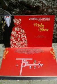 D41 undangan pernikahan/undangan nikah. vintage bunga