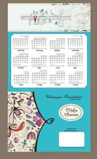 D39 undangan pernikahan kalender lipat 3 vintage bunga