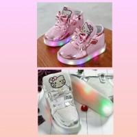 Sz 21-30 Sepatu Anak Lampu Led Import Model Hello Kitty Ribbon
