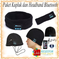 Bluetooth Knit Beanie Plus Headband with Hands-free Calls - Black