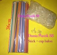 100pc STICK stik tongkat tangkai gagang pegangan + kop CUP untuk balon