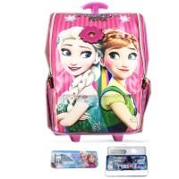 Tas Troley Sekolah Anak TK Frozen Elsa Pita 3D Timbul Jepang S