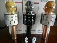 Microphone Wireless Wster WS858 Speaker Karaoke Mic Smule bluetooth