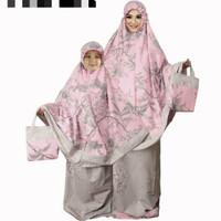 Mukena katun jepang flower pink couple
