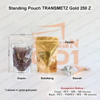 Standing Pouch Kombinasi Transmetz Emas 250+Zipper