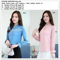 Baju Atasan Kerja Kemeja Lengan Blouse Wanita Korea Import Blue Pink