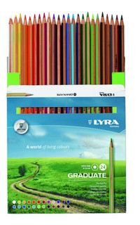 Pensil warna LYRA GRADUATE Permanent 24 colours kemasan dos