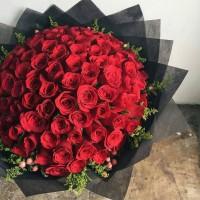 100 Steam Red Rose Import / Bunga Valentines / Bunga Bouquet