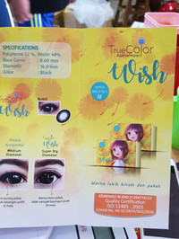 Softlens Wish Black Plano Super Big Eyes 16mm BPOM Kemenkes RI like N8