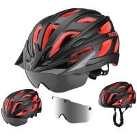 Helm Sepeda RockBros MTB Road Bike With Polarized Google Black Red