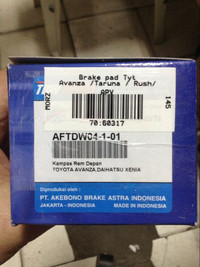 Kampas Rem Depan All New Avanza 2012- Merk TDW Asli