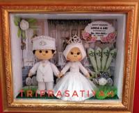 boneka flanel pengantin muslim putih 8R mahar mini