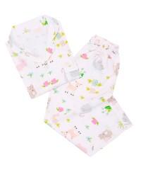 Mooi piyama baju tidur printing premium anak animal pastel (panjang)