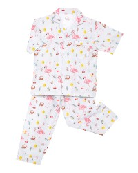 Mooi piyama baju tidur printing premium anak flamingo birds (pendek)