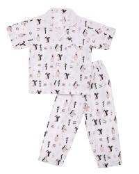 Mooi piyama baju tidur printing premium anak penguin (pendek)