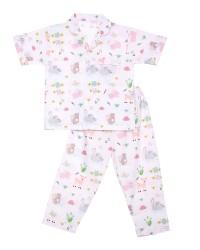 Mooi piyama baju tidur printing premium anak animal pastel (pendek)