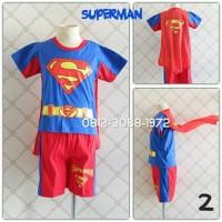Kaos Setelan Pendek Anak Karakter Superhero SUPERMAN