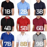 Kaos Polo Shirt Kerah Baju Pria Polos Big Size Lacoste Bahan Gildan -