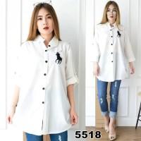 KEMEJA JUMBO POLONIA PUTIH [Baju Atasan Wanita 0128] RJK Tunik