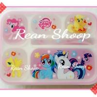 lunch box tempat kotak bekal makan anak 5 sekat karakter kuda poni