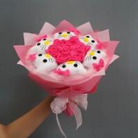 Buket Bunga Flanel Hello kitty Kado Valentine / Handbouquet