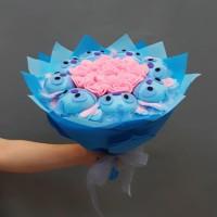 Buket Bunga Karakter Stitch (Bunga Flanel/Artificial Flower)