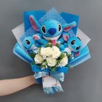 Buket Boneka Lilo and Stitch Kado Wisuda/Valentine/Anniversary/Dll