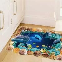 Wall sticker 3d / sticker lantai 3d dolphin