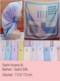 Jilbab Segi Empat Satin Motif Bunga - seri : AZARA 06