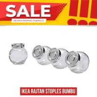 IKEA RAJTAN Stoples Bumbu Kaca serbaguna, warna aluminium, Isi 4 Pcs