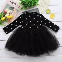 dress bayi perempuan motif polkadot black tutu cantik bahan adem