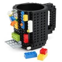 Gelas Mug Lego Brick Puzzle - Black