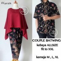 Couple kebaya modern batwing XXL dan kemeja Pria batik 5 pilihan warna