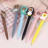 Pulpen pen gel Korea karakter unik MOTIF Line Brown 0.4 mm