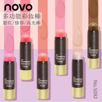 novo smooth stick bronzer highligther blush on 3d multifungsi