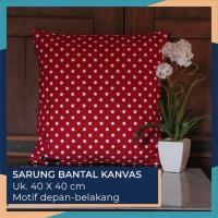 Sarung Bantal Kanvas - Motif Polkadot Merah