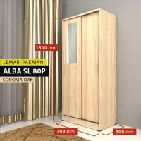 Metropolis Lemari Pakaian 2 Pintu Geser SONOMA OAK (ALBA SL80P)