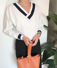 sweater blus v neck big size blouse korea atasan wanita jumbo bangkok