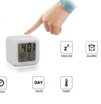 Jam Weker Unik Digital Alarm Desktop Clock Kubus 7 Warna Moody
