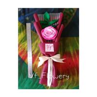 Buket bunga flanel murah / buket single rose / buket wisuda