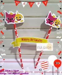 Cake Topper / Hiasan Kue Ultah / Topper Cake Karakter PinkFong Shark