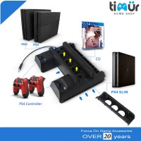 Multifunctional Vertical Cooling Fan Charging Stand PS4 Slim Pro Disc