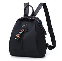 backpack abg nilon love import tas ransel wanita nylon kecil hitam F81