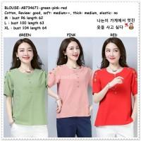 Baju Atasan Bordir Blouse Korea Import AB734671 Green Pink Red Merah