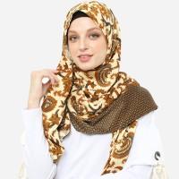 Anakara Batik Muslim Hijab Pashmina- Headscarf Pashmina Bainu- Cokelat