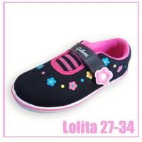 galletti - sepatu sekolah hitam anak perempuan murah motif bunga